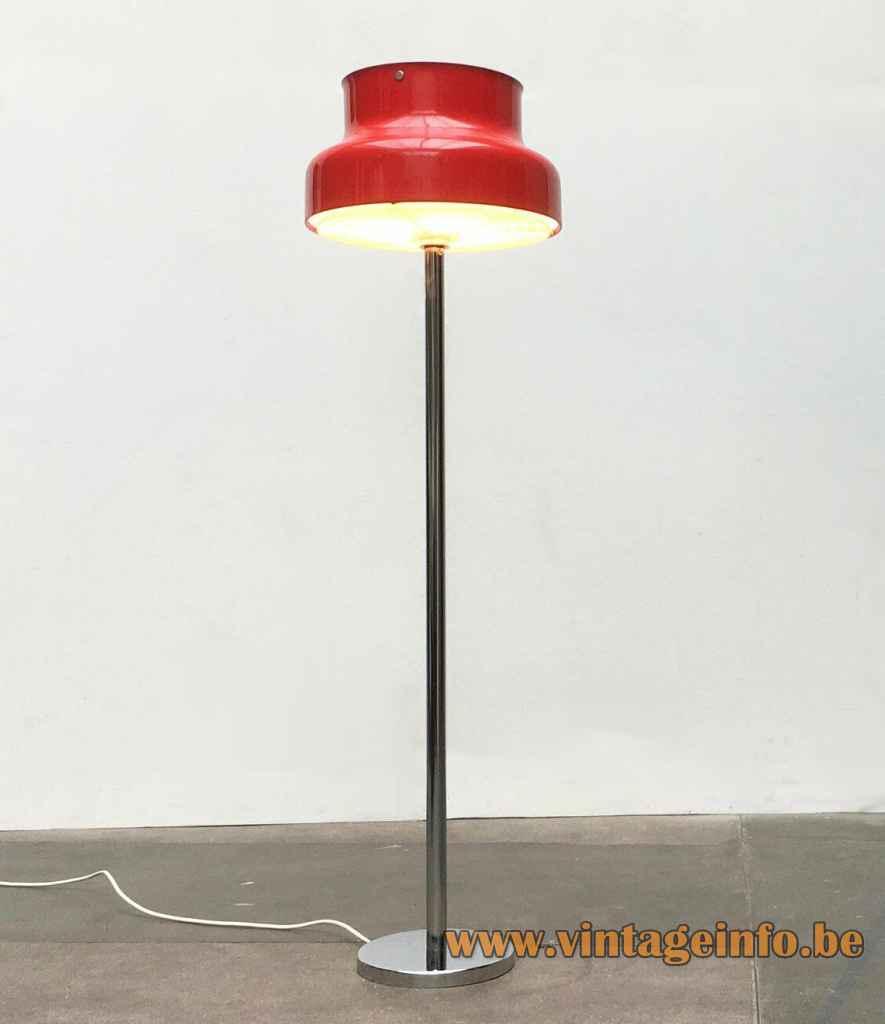 Atelje Lyktan Bumling floor lamp round chrome base & rod red aluminium lampshade 1968 design: Anders Pehrson Sweden