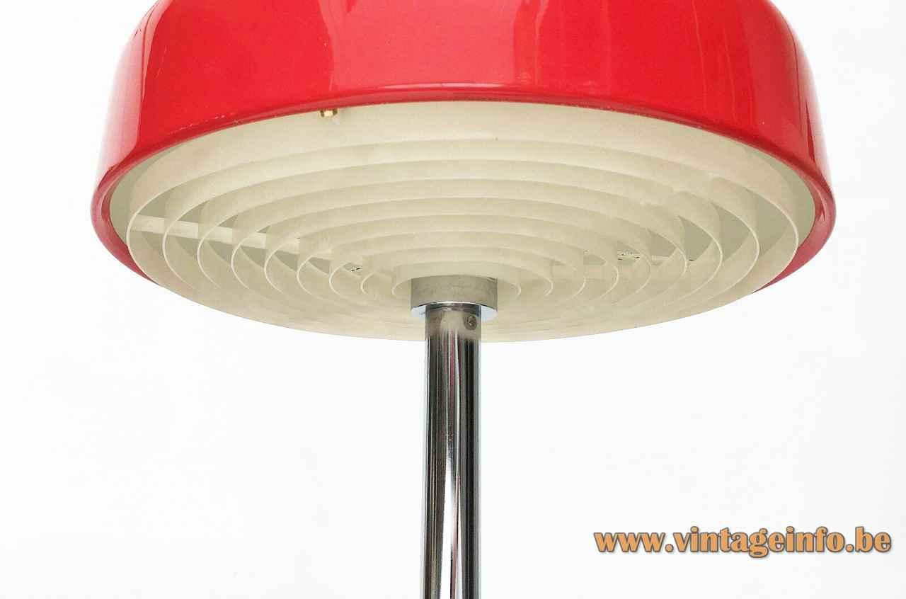 Atelje Lyktan Bumling floor lamp 1968 design: Anders Pehrson white grid diffuser red lampshade Sweden