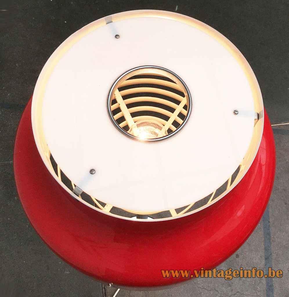 Atelje Lyktan Bumling floor lamp 1968 design: Anders Pehrson red metal lampshade top view Sweden E27 socket