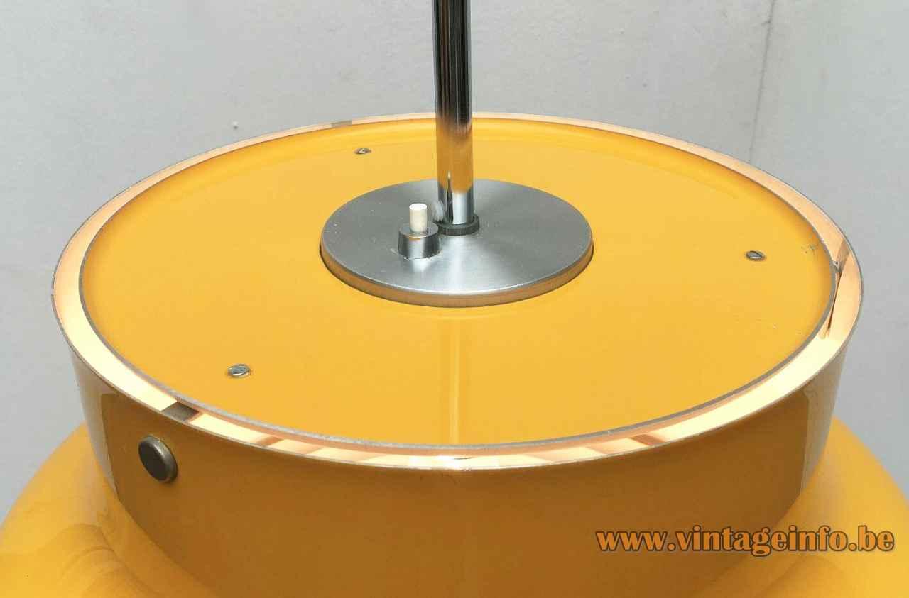 Atelje Lyktan Bumling pendant lamp 1968 design: Anders Pehrson round yellow metal lampshade white grid Sweden