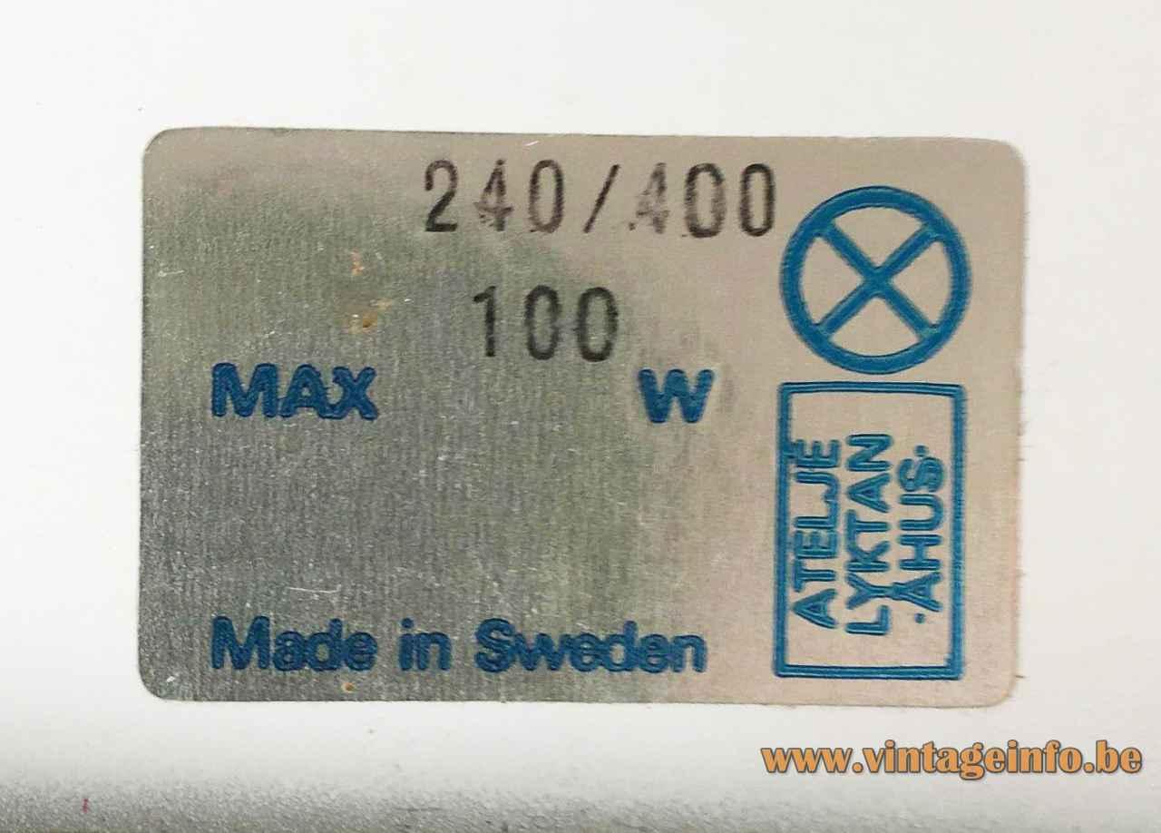 Atelje Lyktan Bumling pendant lamp 1968 design: Anders Pehrson rectangular paper label 100 watt Sweden