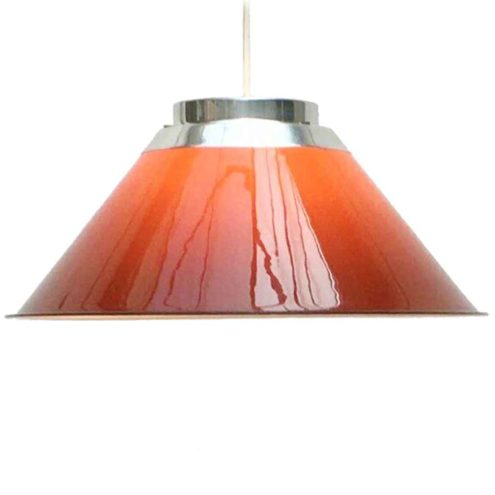 Ateljé Lyktan Mars pendant lamp 1972 design: Per Sundstedt conical degrading orange acrylic lampshade Sweden 1970s