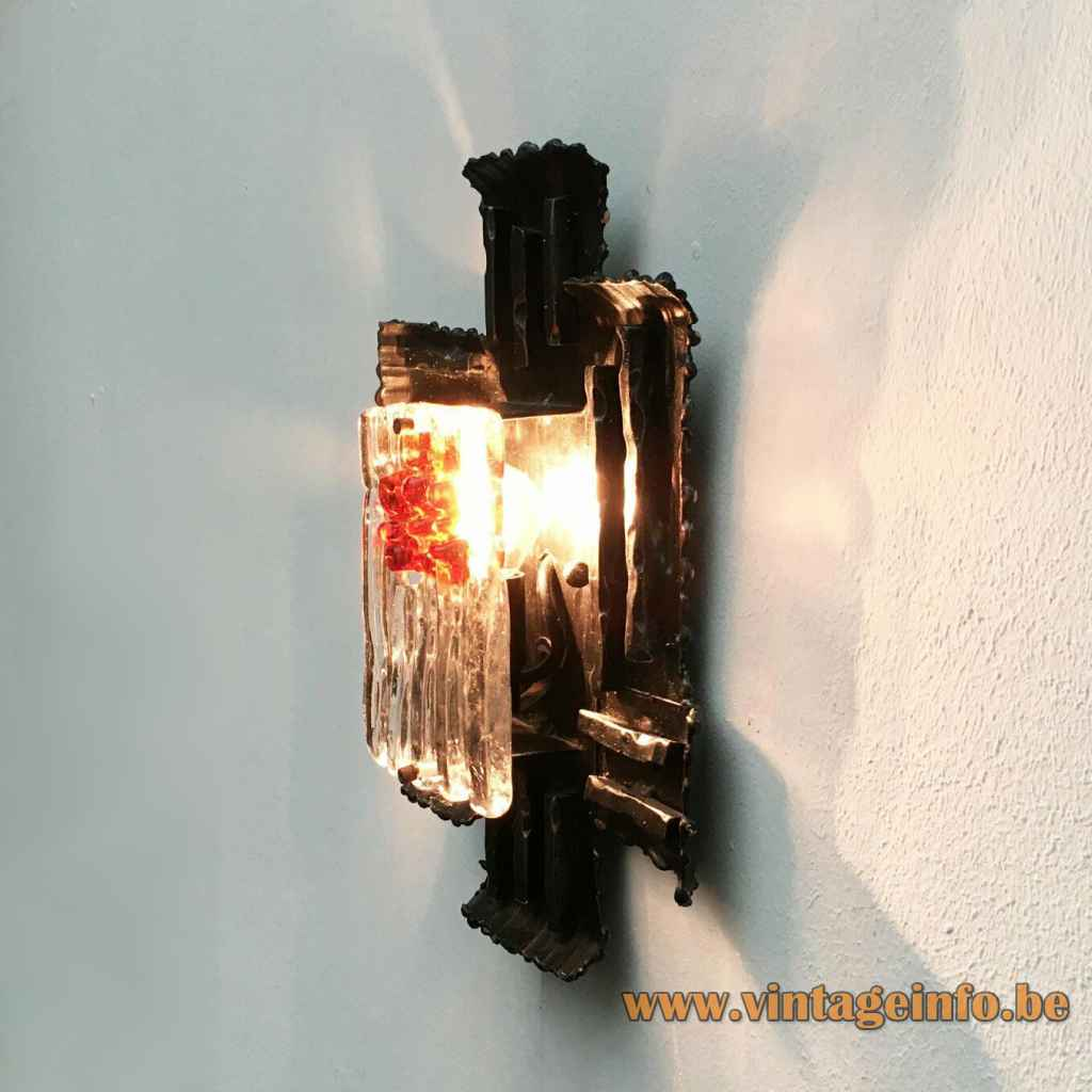Brutalist wrought iron wall lamp rectangular clear & orange glass lampshade 1970s Design: Albano Poli, Poliarte, Italy