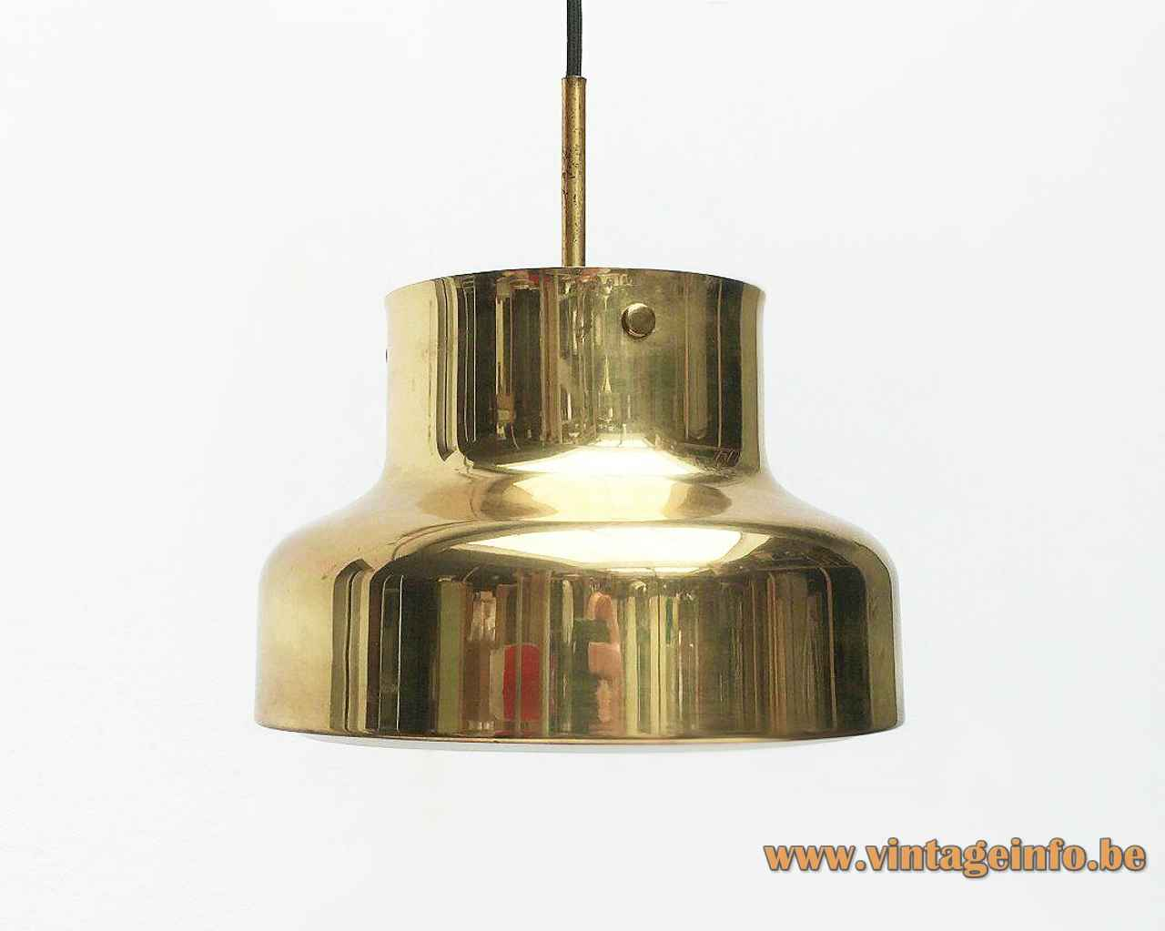Bumling Mini pendant lamp 1968 design: Anders Pehrson round brass lampshade white grid 1960s 1970s Sweden