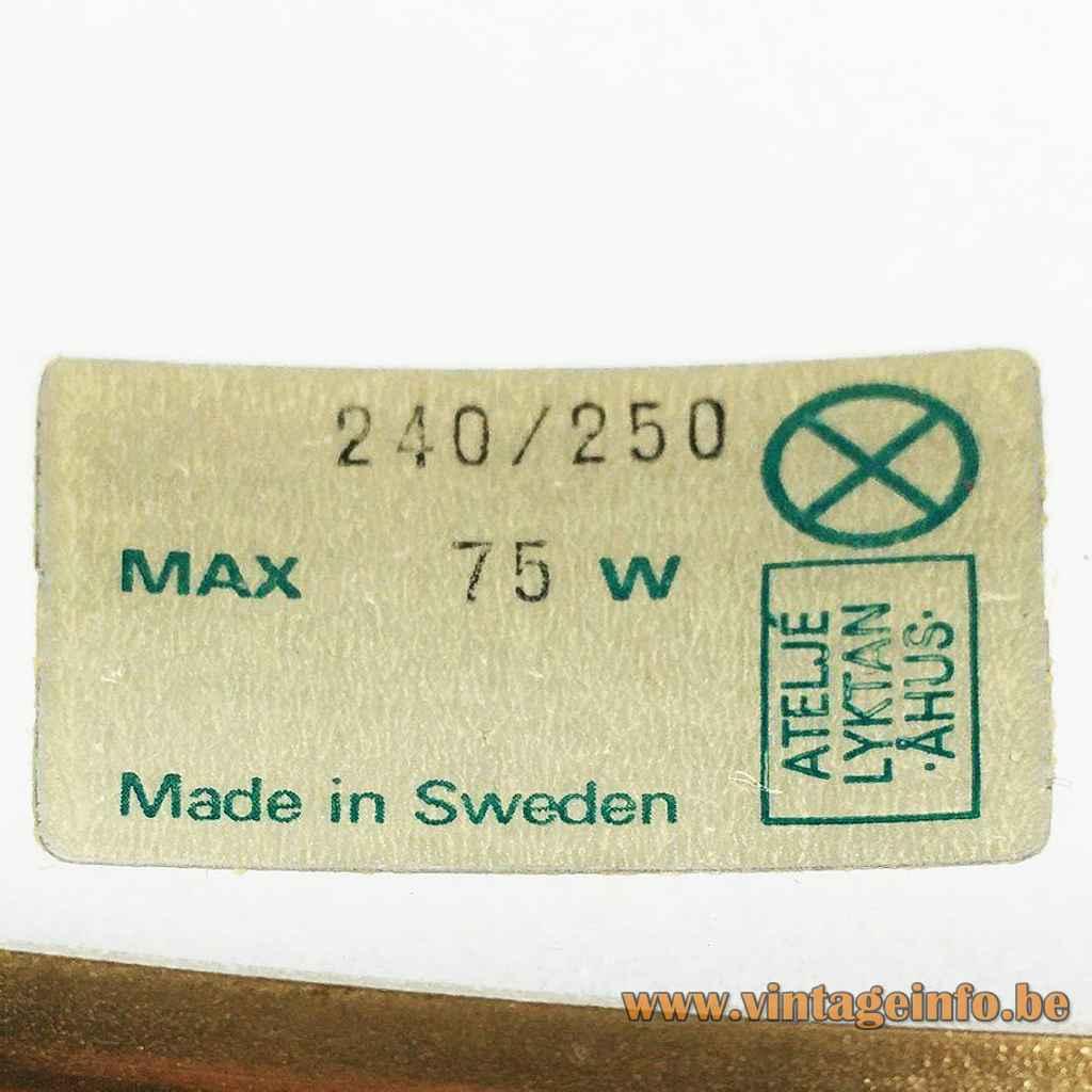 Bumling Mini pendant lamp 1968 design: Anders Pehrson paper label model 240 250 1960s 1970s Sweden