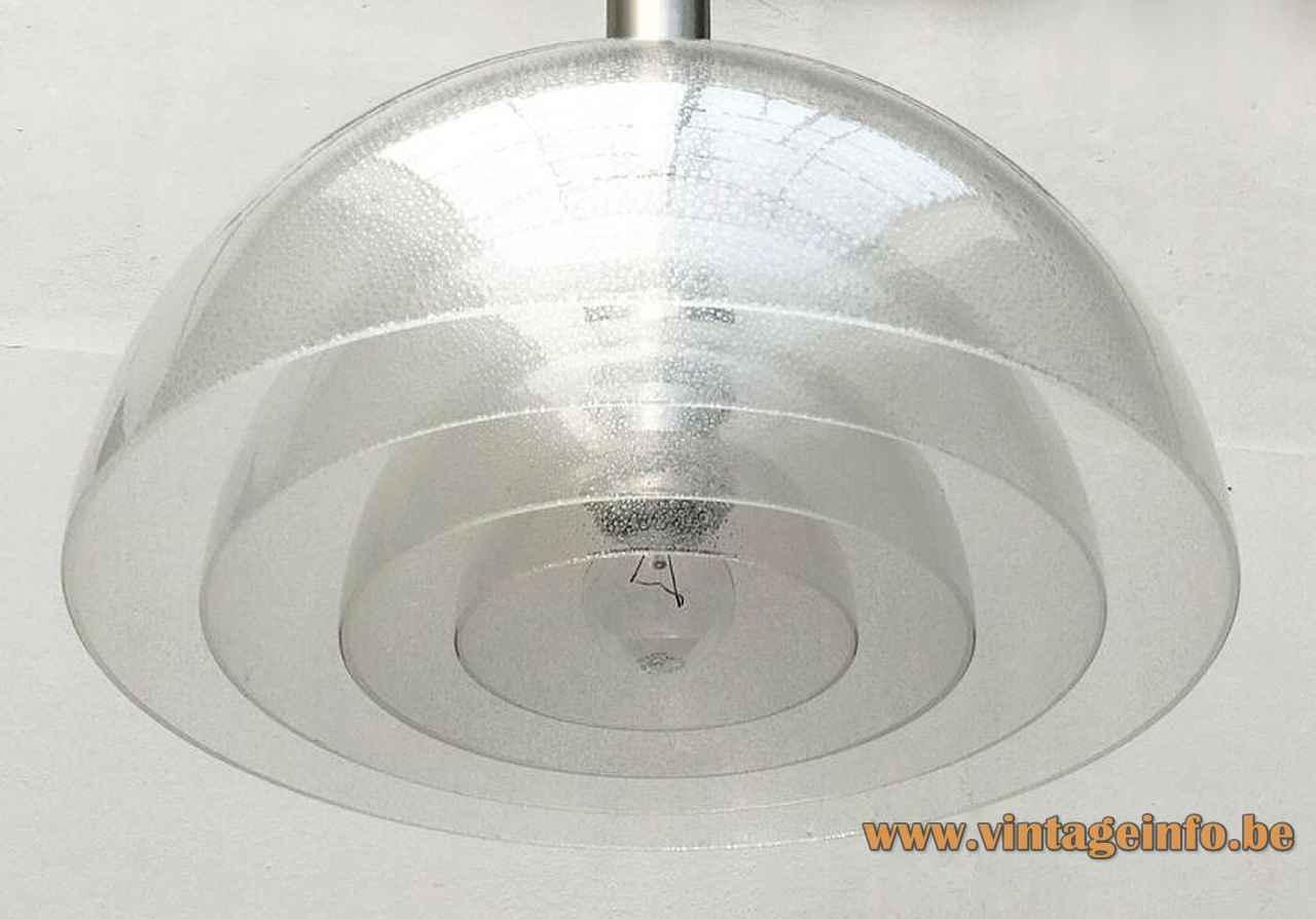 Carlo Nason LT 338 pendant lamp 4 clear Murano bubble glass lampshades 1970s AV Mazzega Italy