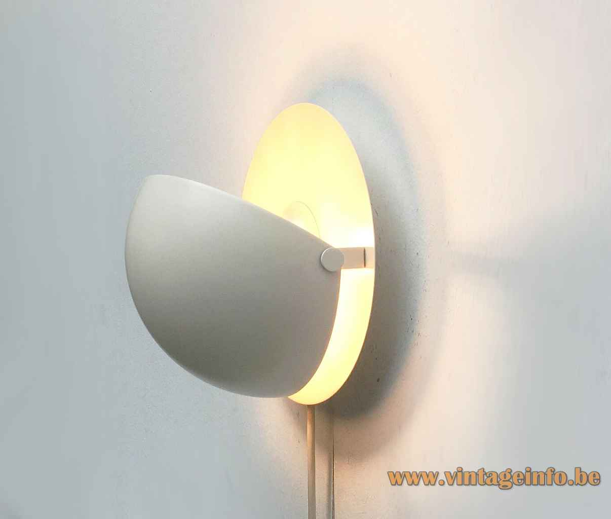 Cosack eclipse wall lamp white metal base adjustable half round lampshade 1960s 1970s Germany E27 socket