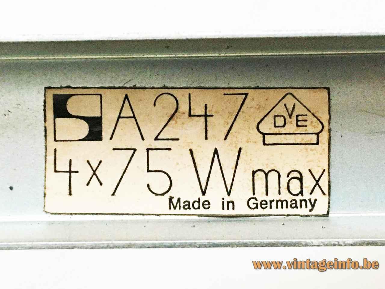 Dieter Witte Oyster wall lamp model A247 Staff label 4 x 75 Watt 1960s Germany 1963 design