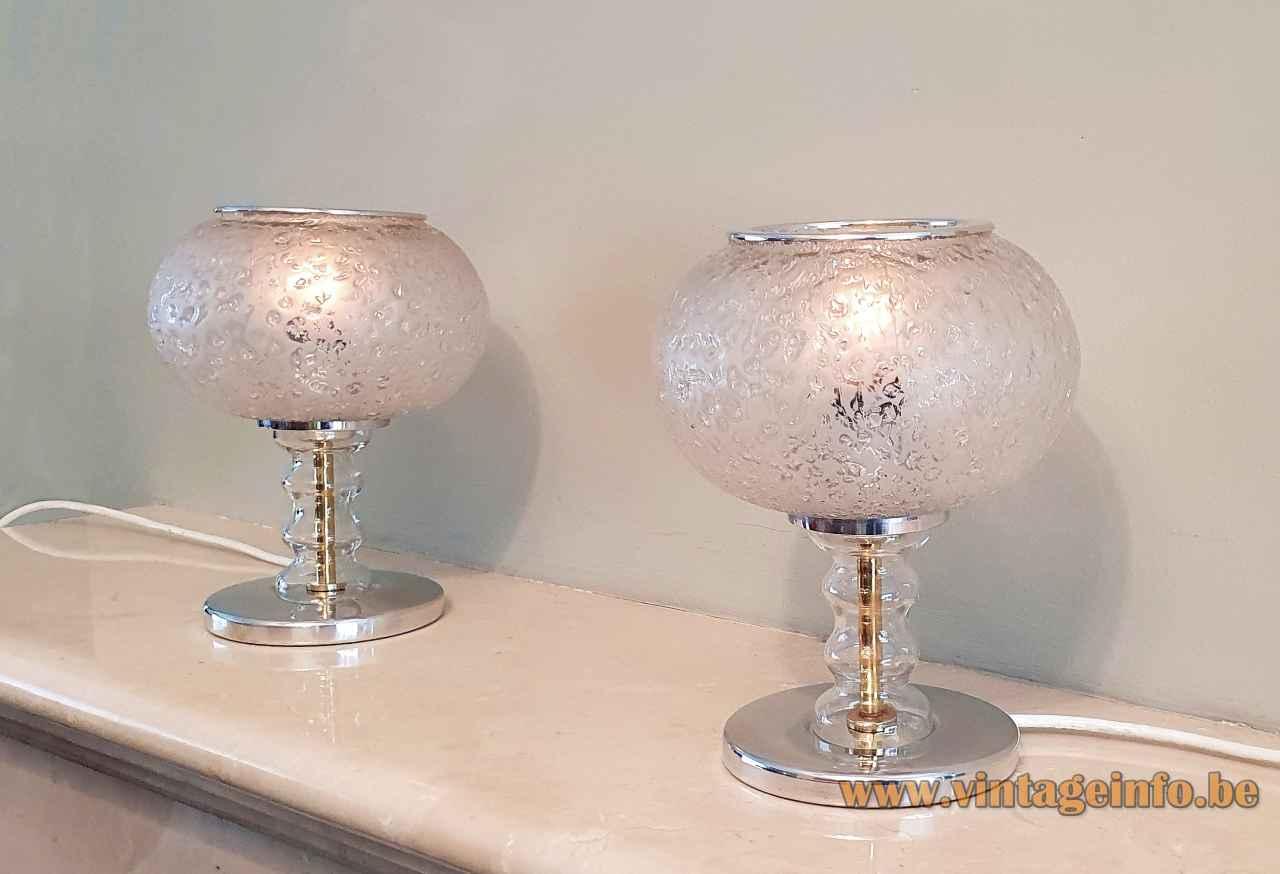 DORIA glass globe table lamp round aluminium base glass rod & embossed hand blown lampshade 1970s Germany