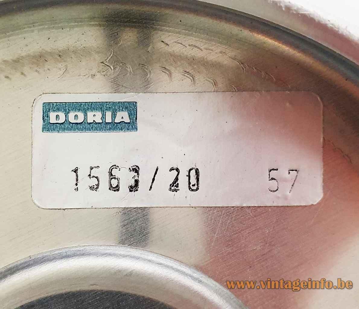 DORIA glass globe table lamp 1563/20 rectangular paper label inside 1970s Germany