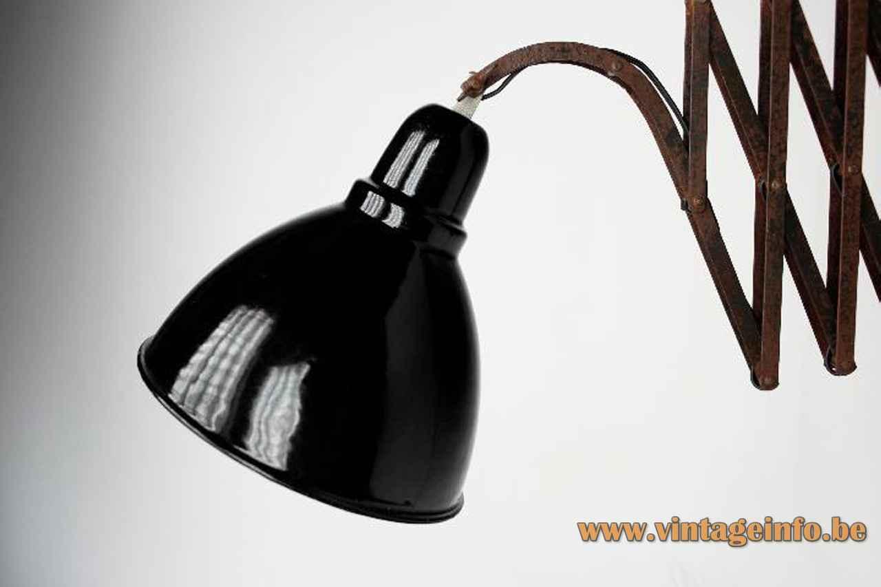 EGSA scissor wall lamp black industrial metal adjustable round lampshade 1950s Esmaltería Guipuzcoana Spain E27 socket