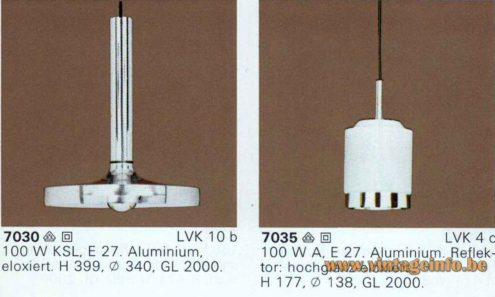 ERCO Aluminium Pendant Lamp 7030 - 1976, 1977 Catalogue Picture