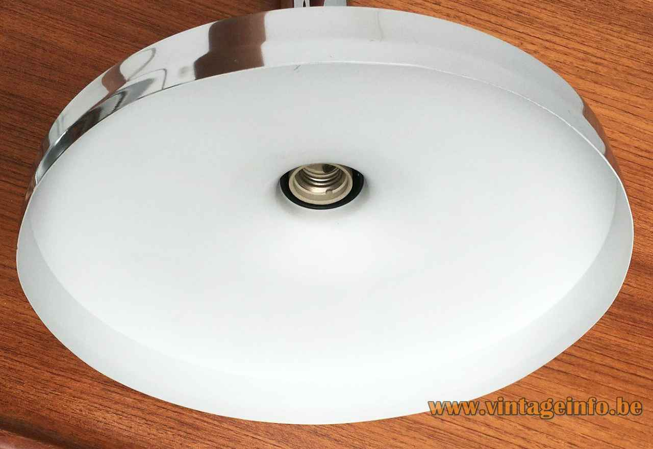 ERCO aluminium pendant lamp 7030 big disc lampshade long polished tube 1970s Germany E27 socket