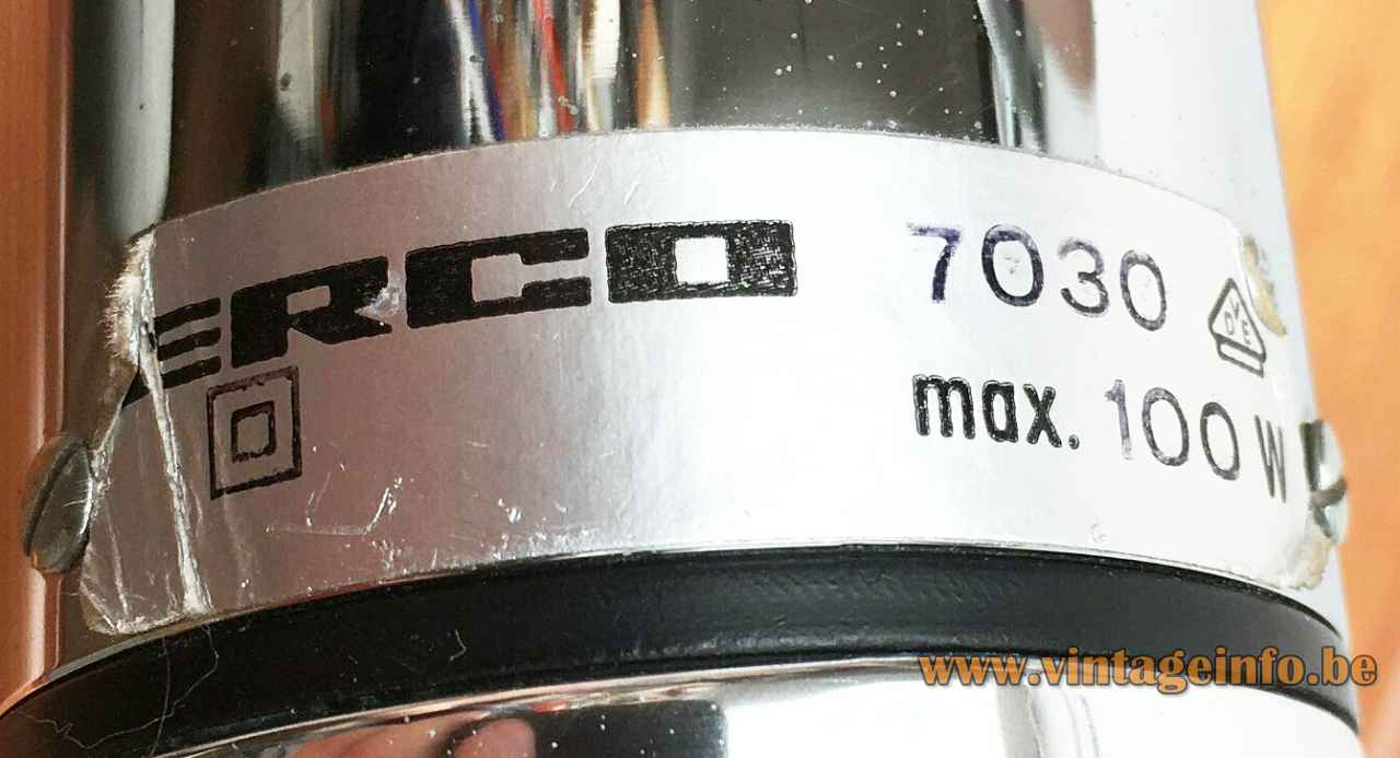 ERCO aluminium pendant lamp 7030 label 100 Watt maximum 1970s Germany E27 socket