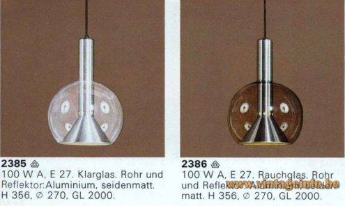 ERCO Globe Pendant Lamp - 1976, 1977 Catalogue Picture Models 2380, 2381