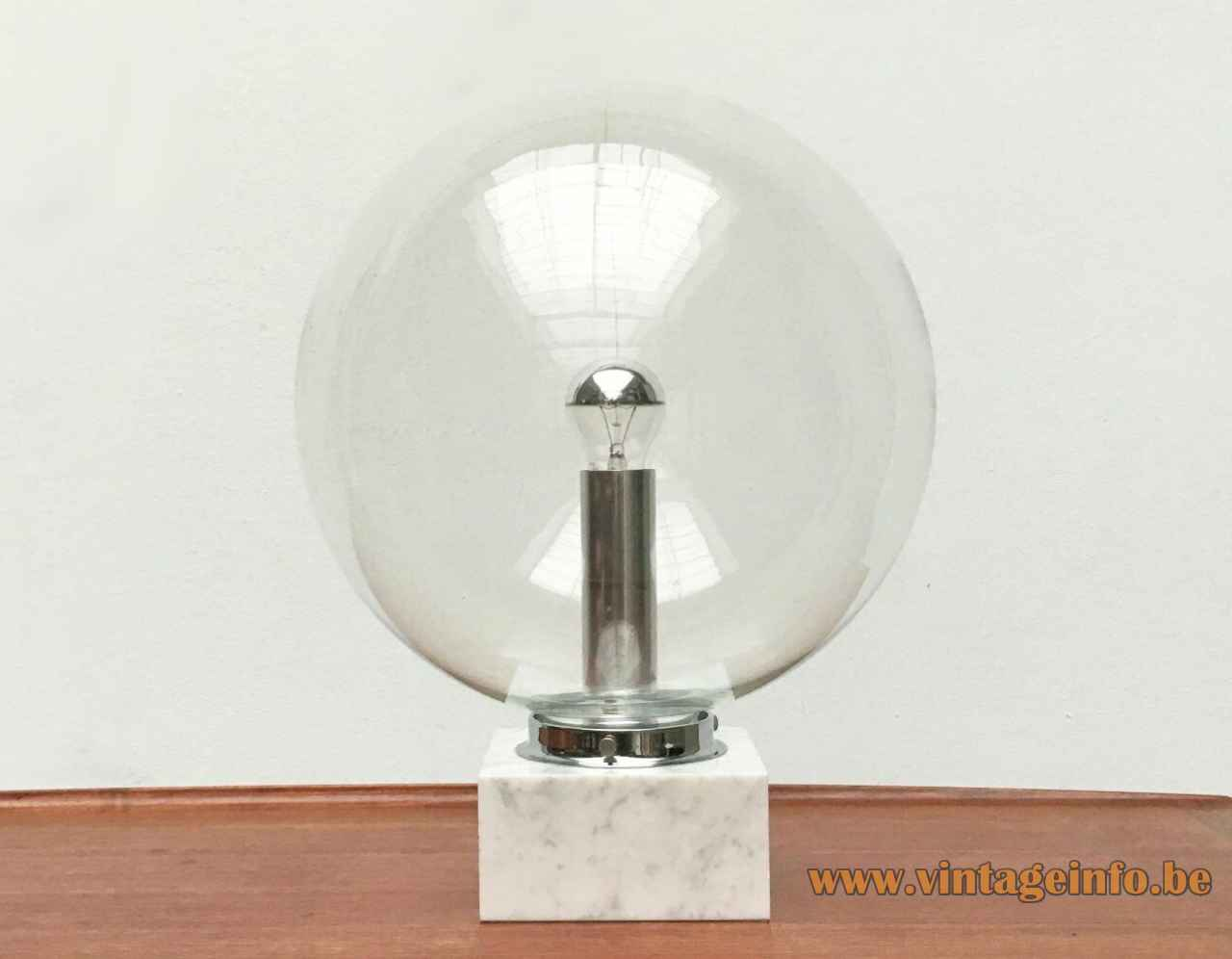 ERCO globe table lamp 3480 square marble base clear glass lampshade chrome tube 1970s Germany
