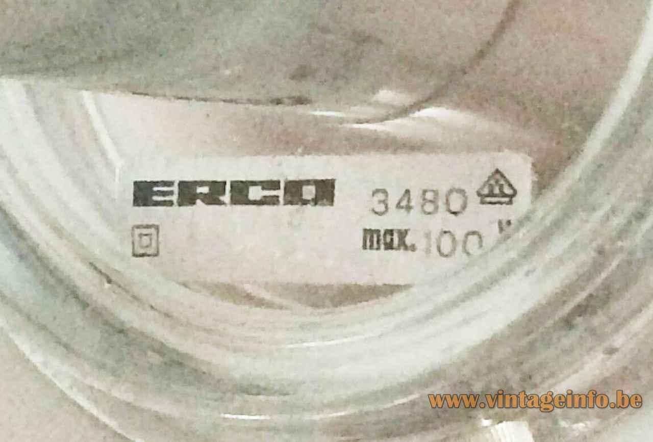 ERCO globe table lamp 3480 rectangular paper label logo 100 Watt 1970s Germany