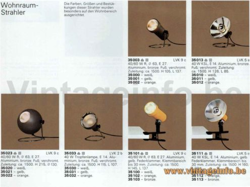 ERCO globe table lamp models: 35023 35020 35021 35022 1976 1977 catalogue picture Germany