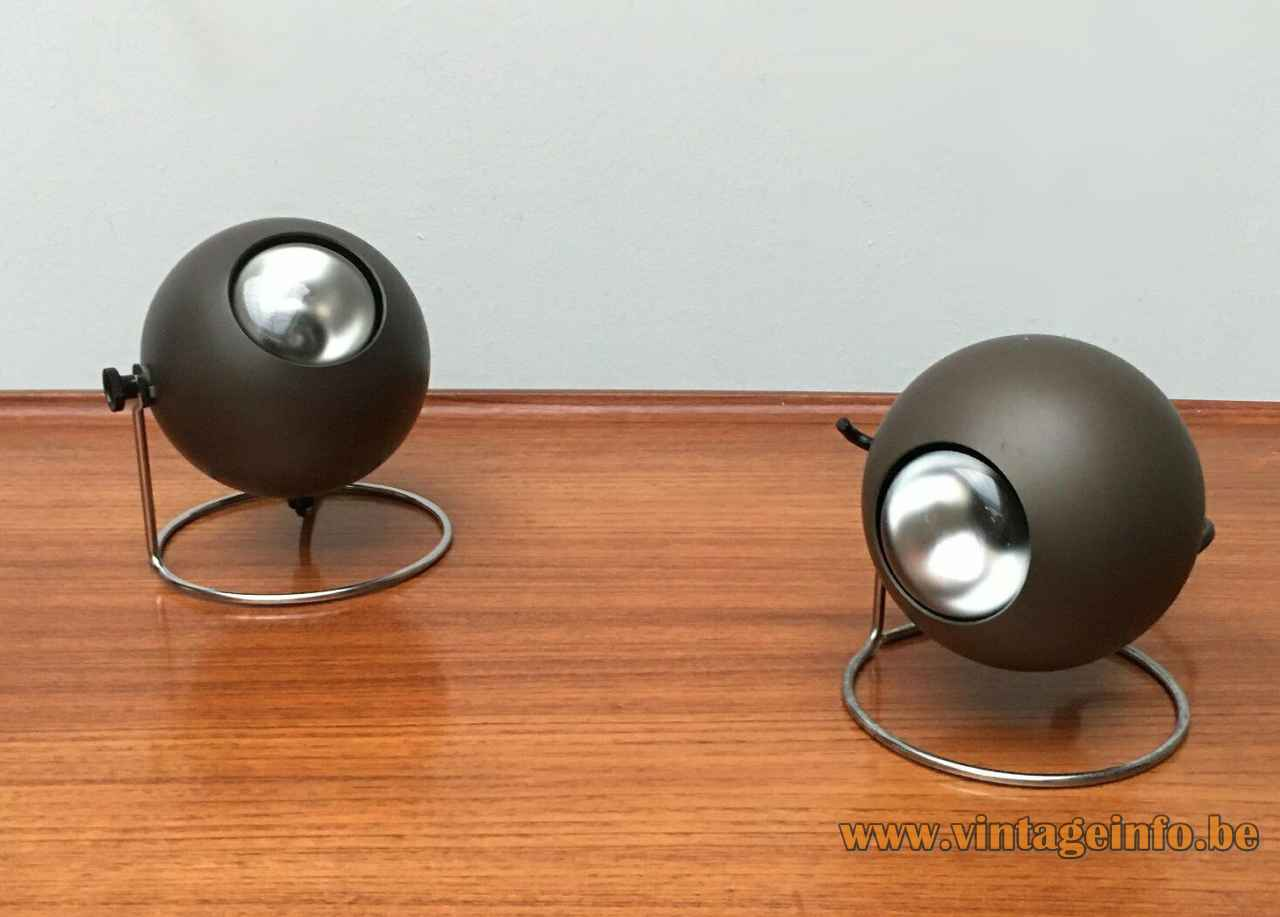 ERCO globe table lamp chrome ring base brown bronze aluminium sphere lampshade 1970s Germany E27 socket