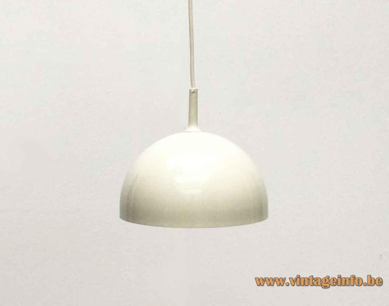 ERCO mushroom pendant lamp ivory metal lampshade white plastic grid 1960s 1970s Germany E27 socket