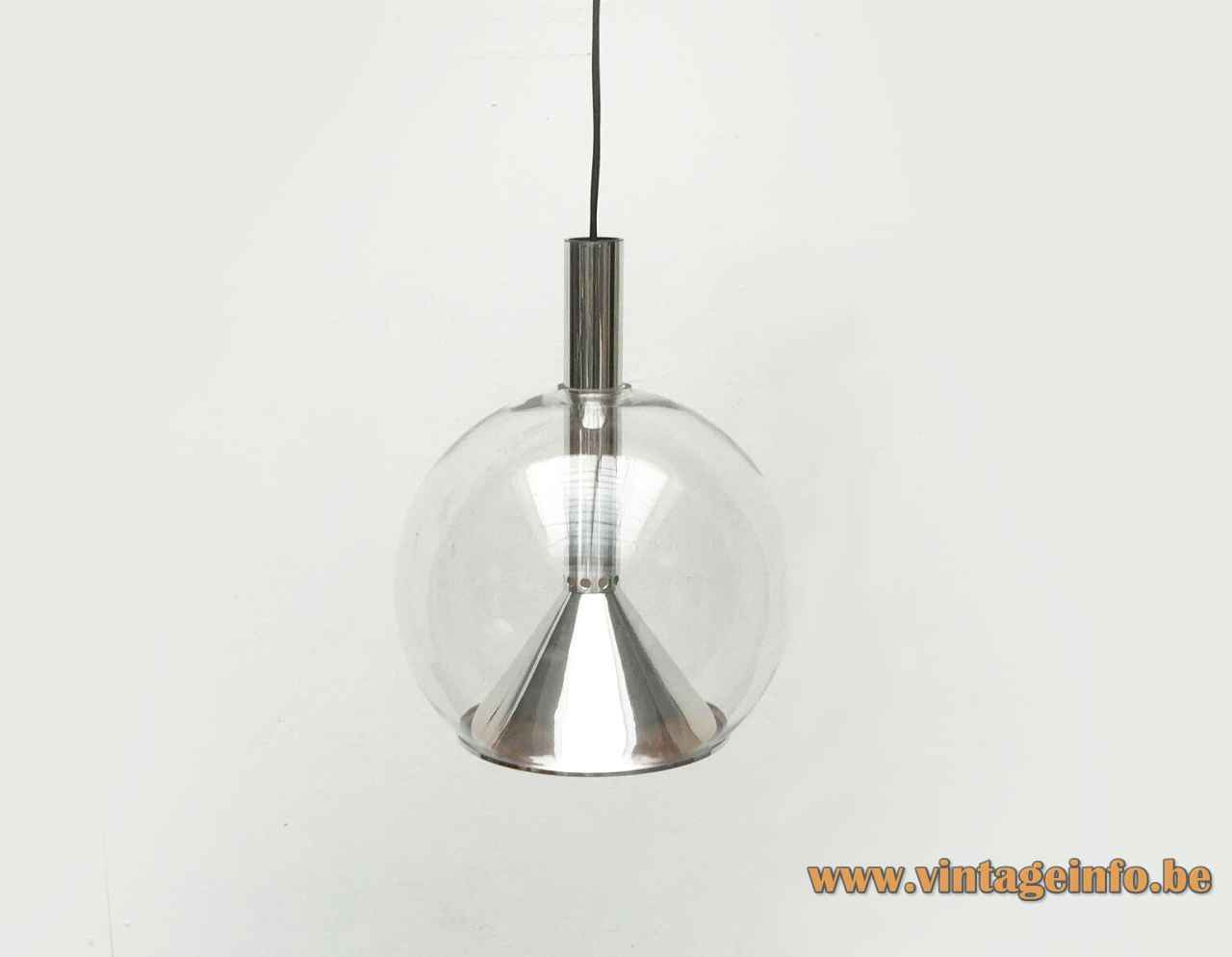 ERCO globe pendant lamp polished aluminium tube & diffuser clear glass lampshade 1970s Germany E27 socket