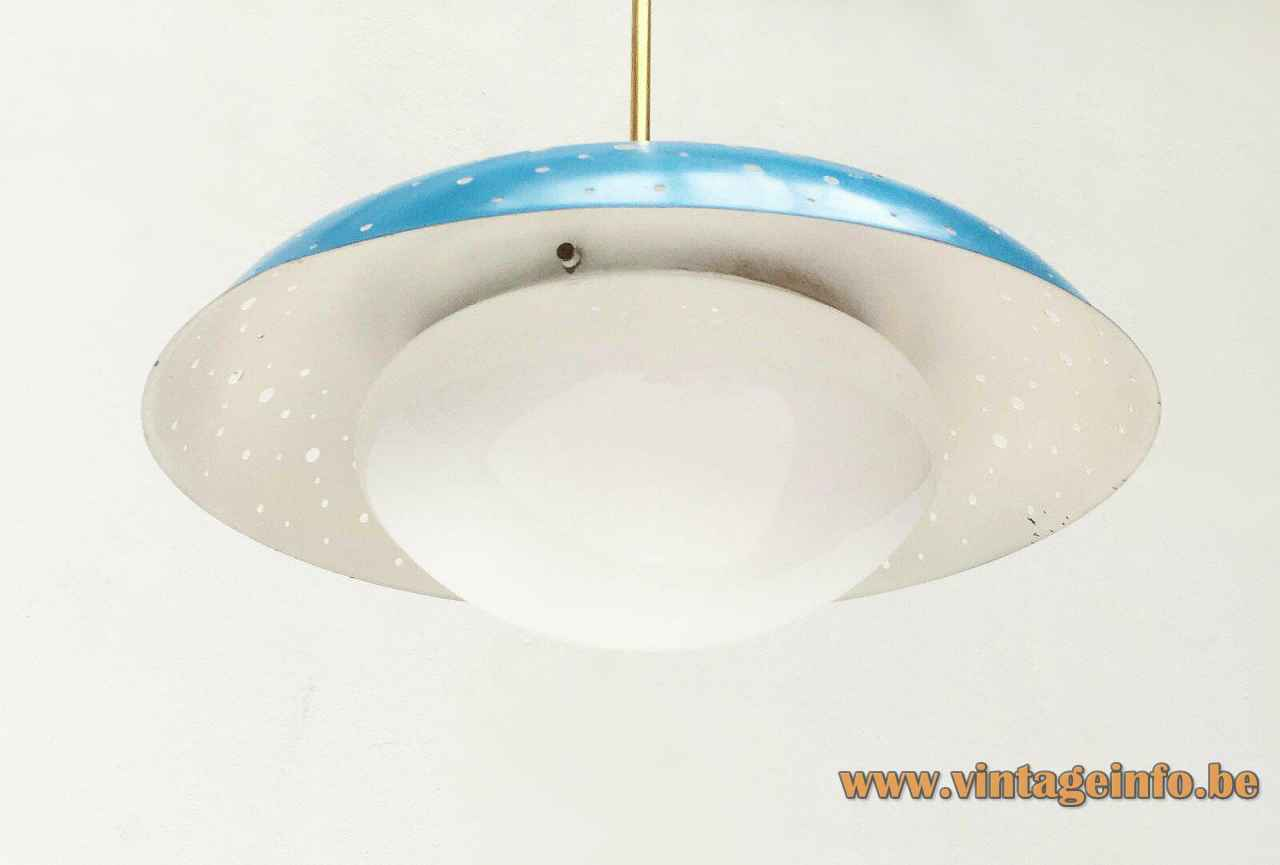 Ernest Igl Hillebrand pendant lamp round holes perforated blue lampshade opal glass diffuser 1950s Hillebrand-Leuchten Germany