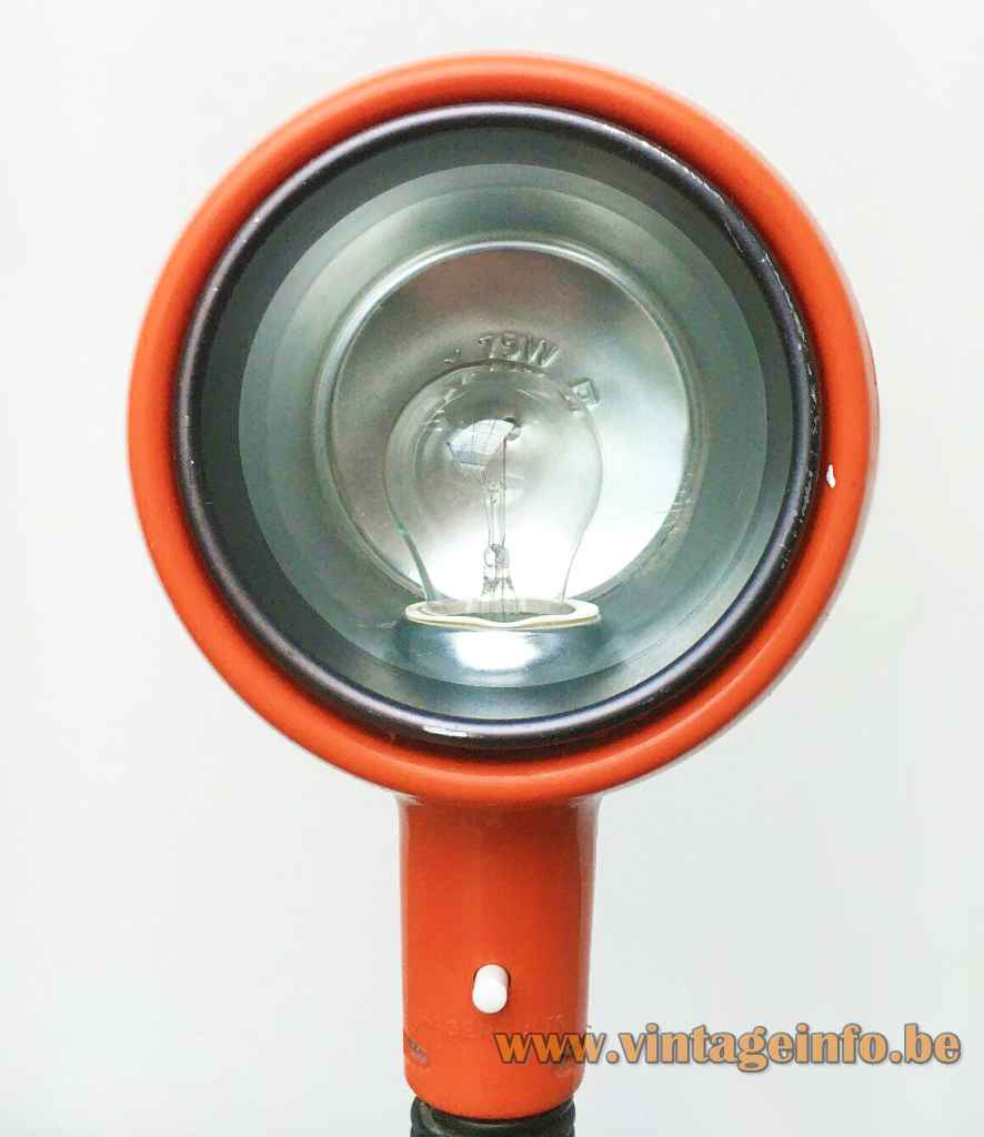 Fagerhults Cobra desk lamp round metal base & tube black flexible orange lampshade 1970s Sweden E27 socket