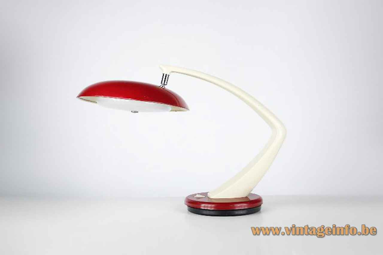 Fase Boomerang 64 desk lamp red metal base curved white rod round lampshade 1960s 1970s Spain