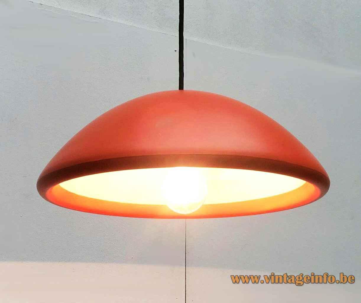 Fog & Morup Data pendant lamp 1970s design: Bjarne Bo round orange polyurethane plastic mushroom lampshade Denmark