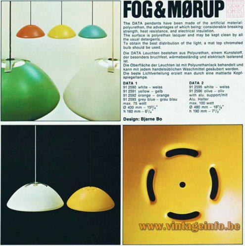 Fog & Morup Data Pendant Lamp - Catalogue Picture - 1970s Design: Bjarne Bo, Denmark
