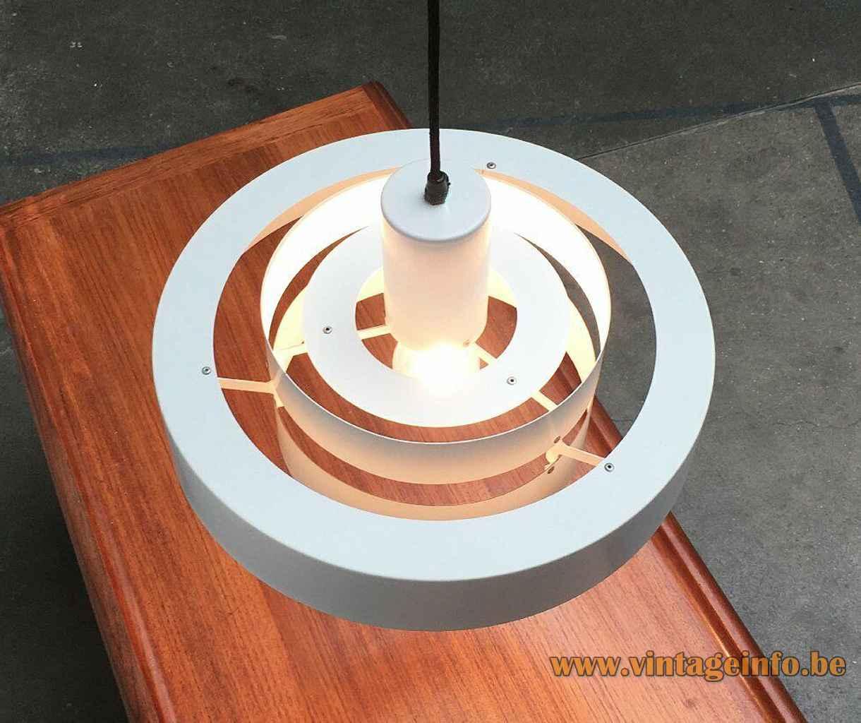 Fog & Morup Equator pendant lamp white metal rings lampshade 1968 design: Jo Hammerborg Denmark E27 socket