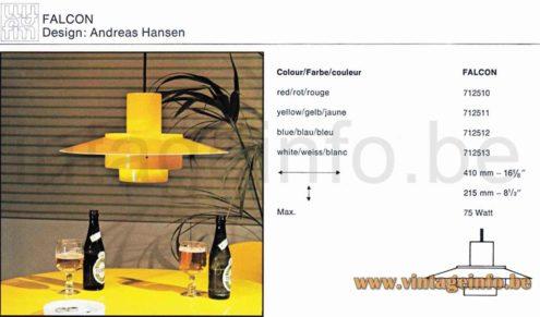 Fog & Morup Falcon Pendant Lamp - 1960s Design Andreas Hansen, Denmark - 1971 Catalogue Picture