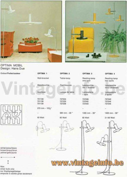 Fog & Mørup Optima Desk Lamp - 1973 Design Hans Due - 1975 Catalogue Picture