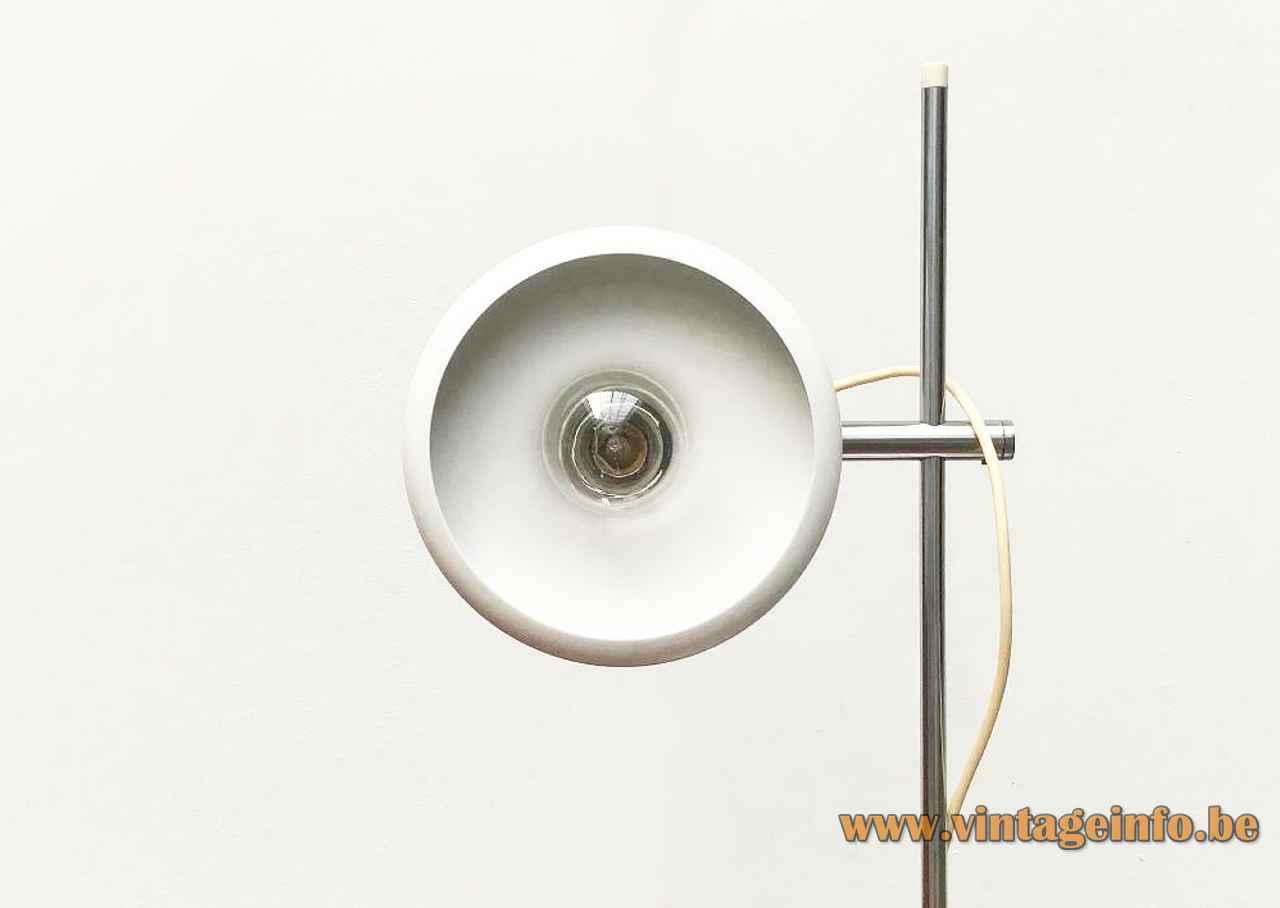 Fog & Mørup Optima desk lamp design: Hans Due white metal base chrome rod round lampshade 1970s
