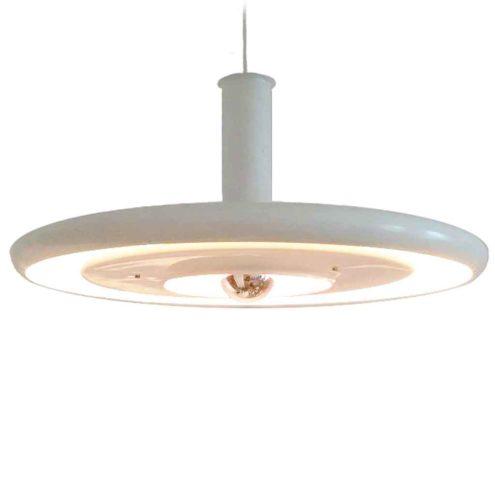 Fog & Mørup Optima pendant lamp 1973 design: Hans Due white metal disc lampshade 1970s Denmark E27