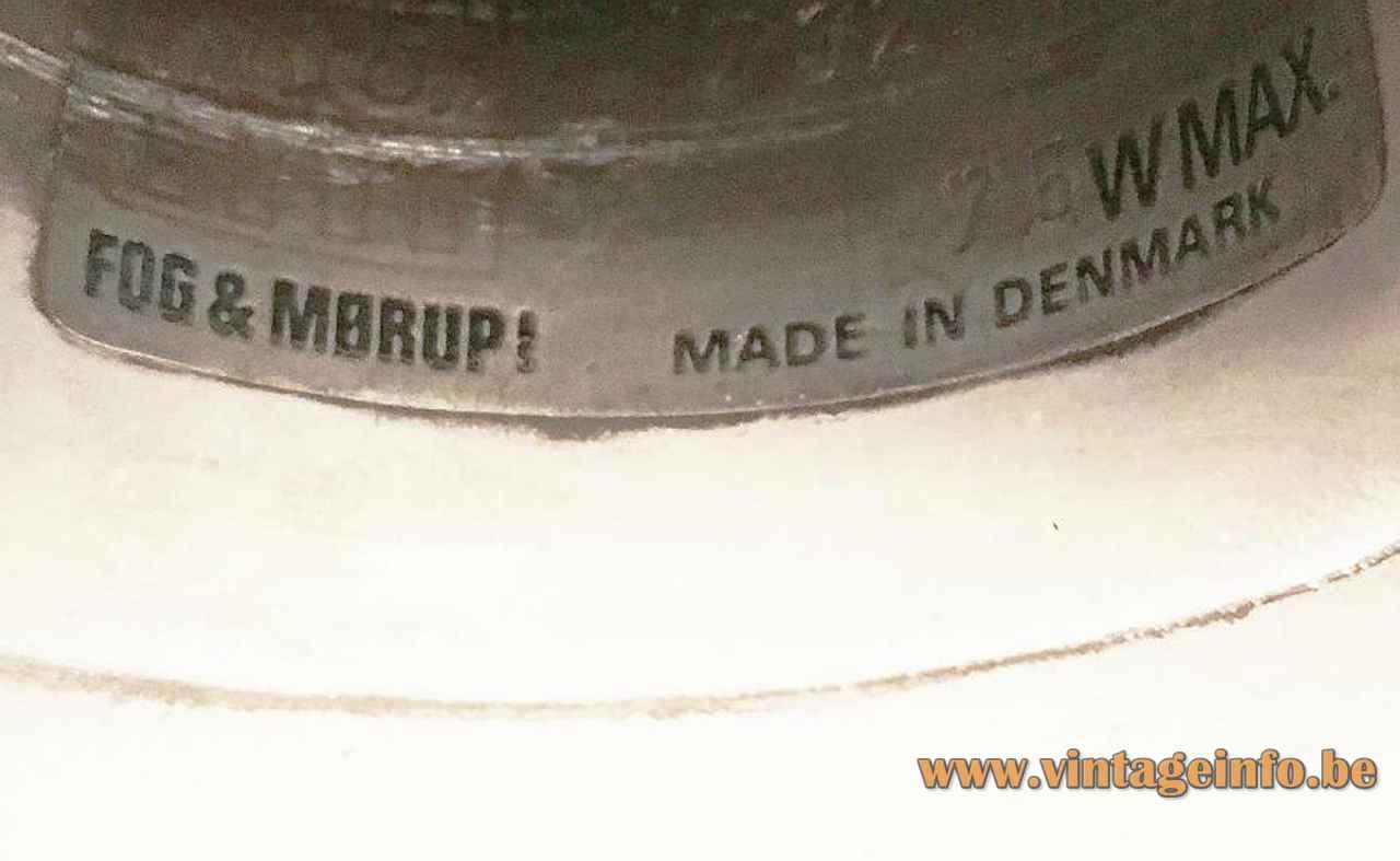 Fog & Mørup Optima pendant lamp 1973 design: Hans Due white metal disc lampshade 1970s Denmark label