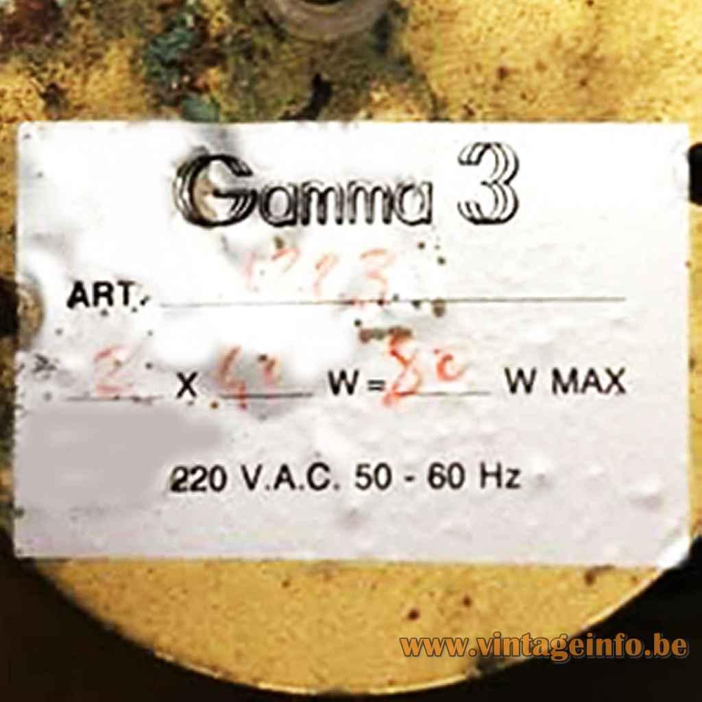 Gamma 3 Luce label