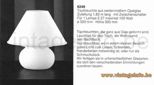 Glashütte Limburg 6249 table lamp frosted opal glass round base & mushroom lampshade 1979 catalogue picture