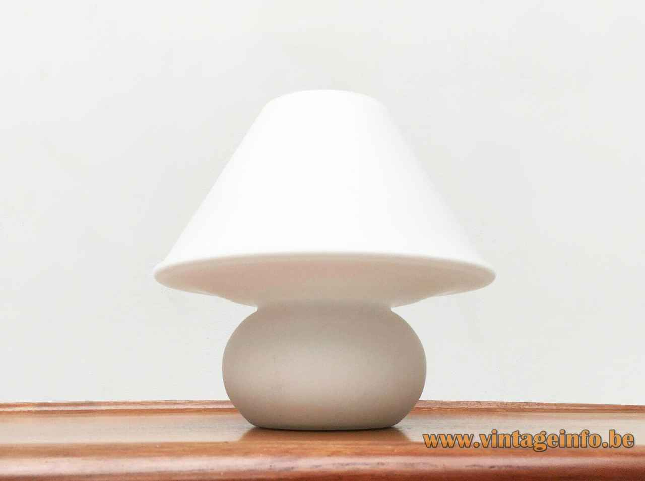 Glashütte Limburg 6249 table lamp frosted opal glass round base & mushroom lampshade 1970s 1980s Germany