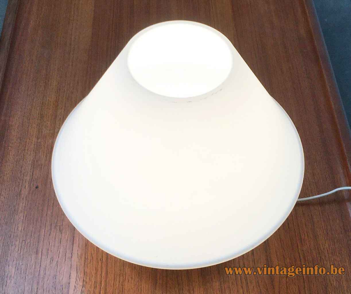 Glashütte Limburg 6249 table lamp frosted opal glass round base & mushroom lampshade 1970s 1980s Germany top