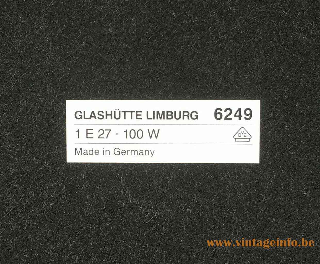 Glashütte Limburg 6249 table lamp frectangular label bottom 100 Watt maximum 1970s 1980s Germany