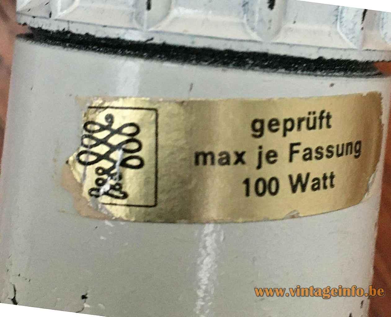 Goldkant Leuchten Orsa pendant lamp gold paper label cocoon plastic lampshade 1970s Germany E27 socket