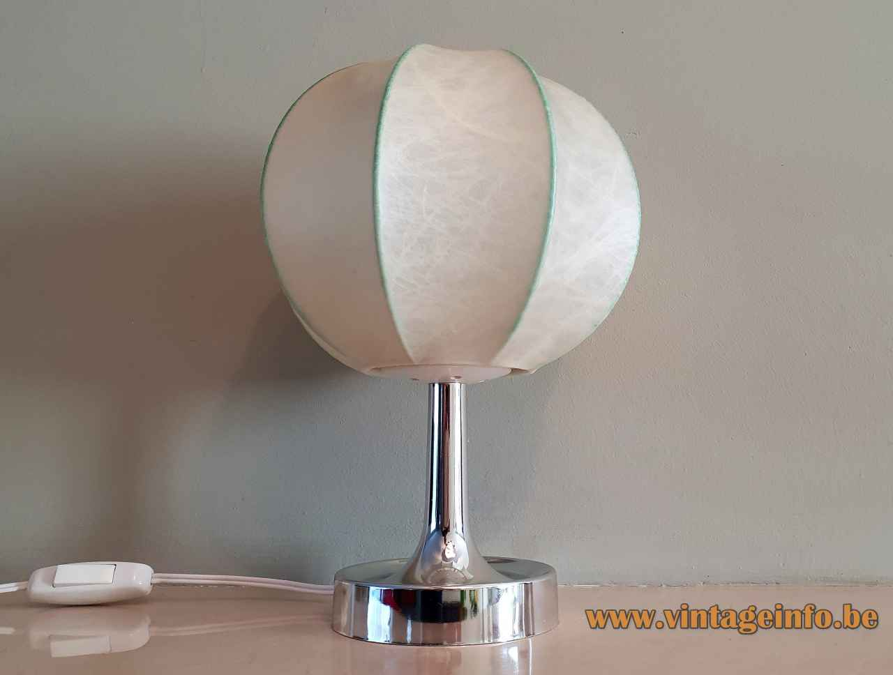 Goldkant Leuchten Salbo table lamp round chrome base cocoon plastic globe lampshade 1960s 1970s Germany