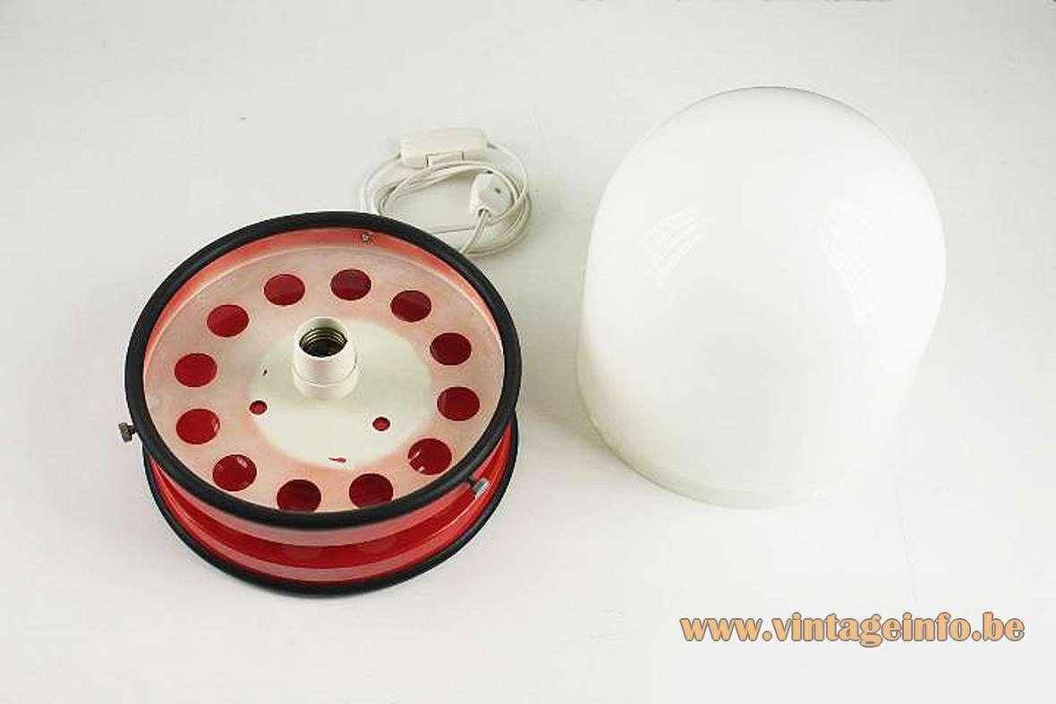 Grup Bonamusa Tramo table lamp red metal base black rubber rings opal glass lampshade 1960s 1970s