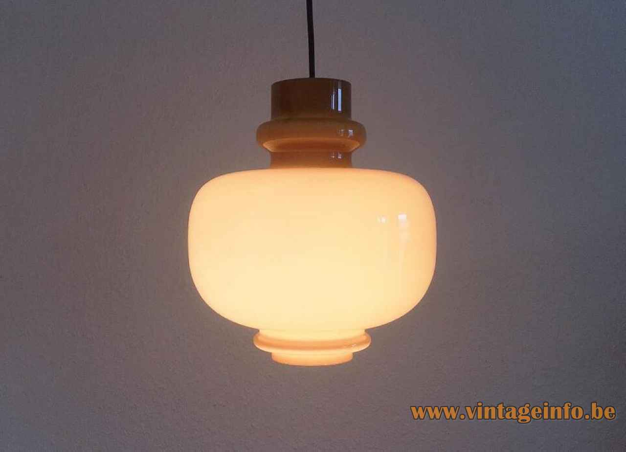 Hans-Agne Jakobsson Oplight 75 pendant lamp hand blown brown glass lampshade 1970s Staff Leuchten Germany