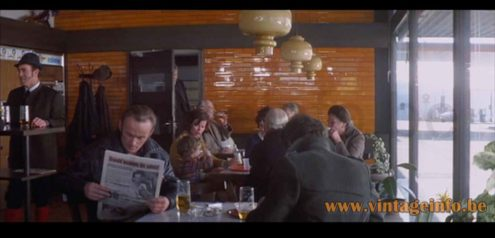 Hans-Agne Jakobsson Oplight 75 pendant lamp used as a prop in the 1974 film The Odessa File
