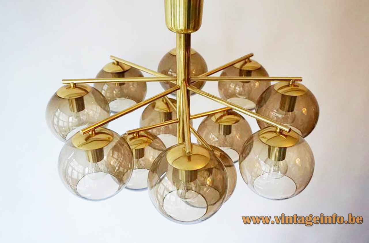 Hans-Agne Jakobsson style smoked globes chandelier 12 glass lampshades brass tubes 1960s 1970s Cosack Leuchten Germany