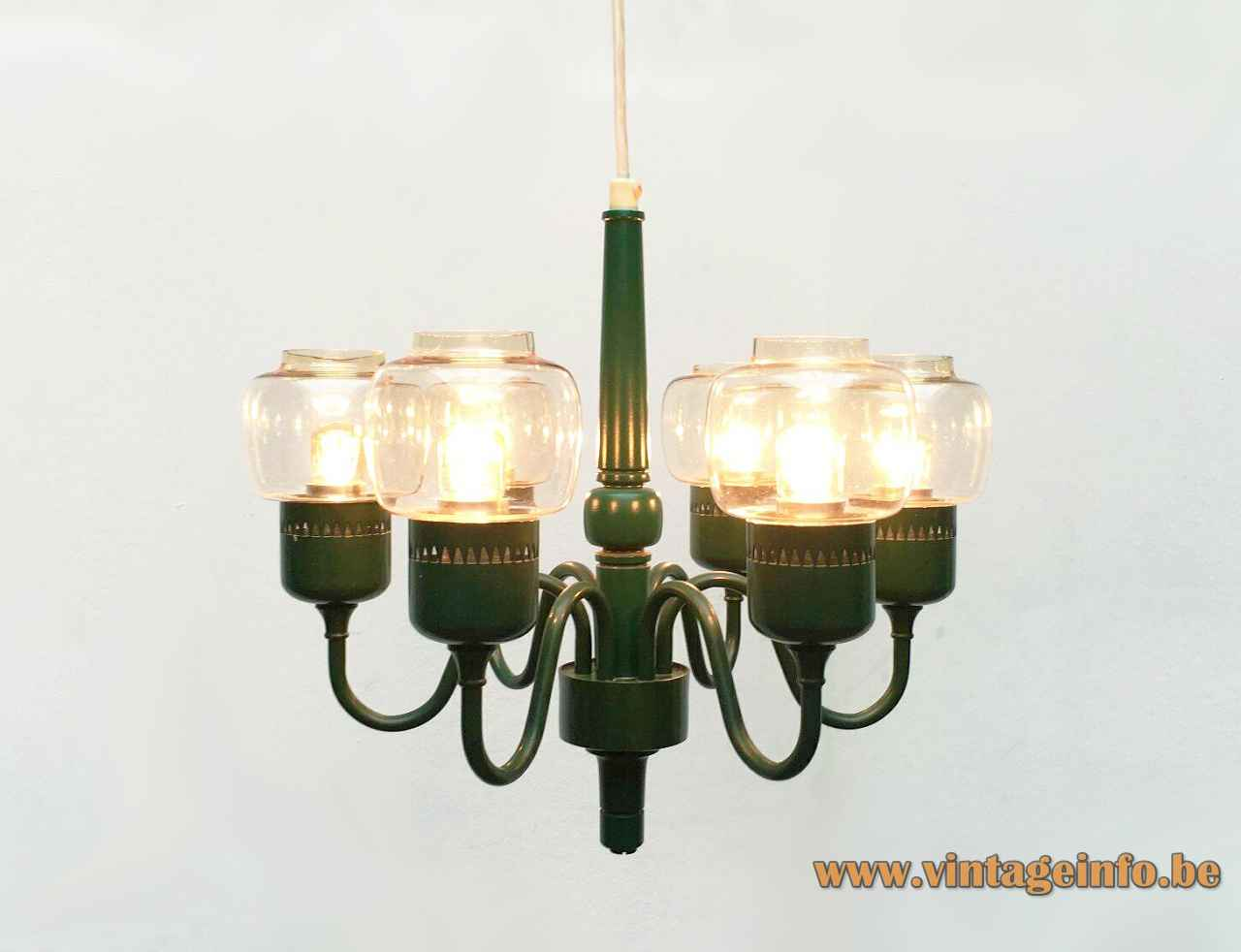 Hans-Agne Jakobsson T 526 chandelier green metal frame 6 clear glass lampshades 1960s Sweden