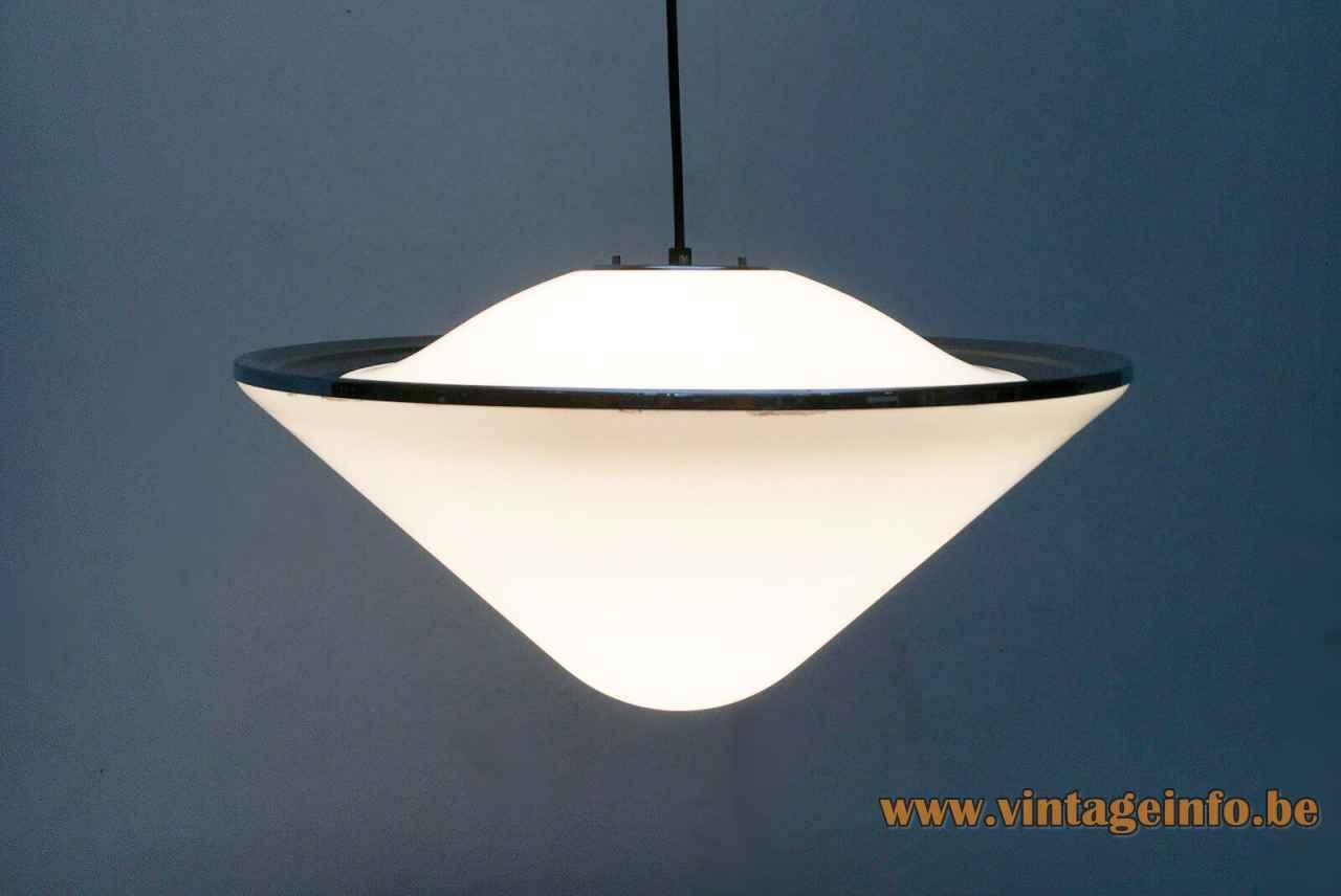 Harveiluce Elpis pendant lamp round white acrylic conical lampshade chrome ring 1960s 1970s Harvey Guzzini Italy
