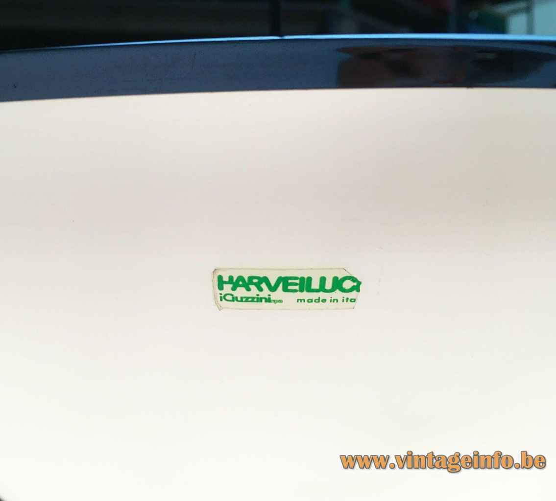 Harveiluce Elpis pendant lamp green plastic label & logo 1960s 1970s Harvey Guzzini Italy